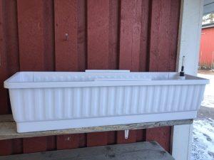 Terracotta, parvekelaatikko, ilman kiinnityskoukkuja (valkoinen)